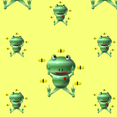 Cute Frog and Flies fabric by artist4god on Spoonflower - custom fabric