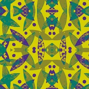 Birds in Flight (lime,purple, turquiose)
