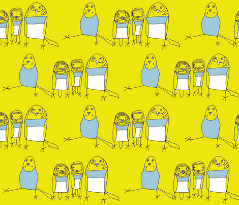 Budgie Family - Yellow fabric by heartfullofbirds on Spoonflower - custom fabric
