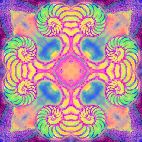 Nautilus Dance Mandala 2 fabric by dovetail_designs on Spoonflower - custom fabric
