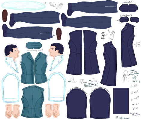 Young Man in Frock Coat fabric by natashad on Spoonflower - custom fabric
