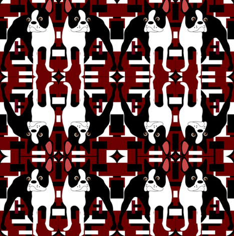 Retro Red Boston Terrier fabric by missyq on Spoonflower - custom fabric