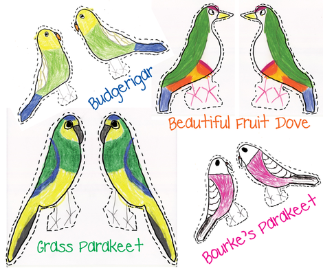 Exotic Bird Stuffed Animals fabric by heartfullofbirds on Spoonflower - custom fabric