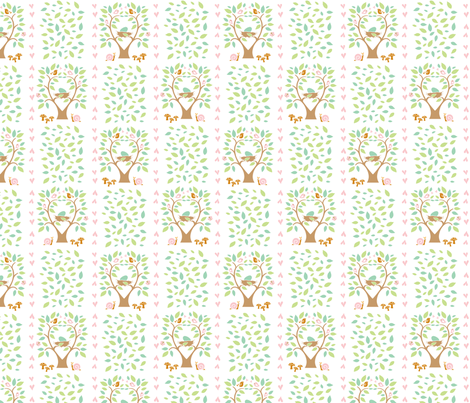 Baby Woods_Nests and leaves fabric by dzynchik on Spoonflower - custom fabric