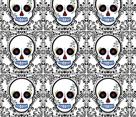 Day of the Dead - Día de los Muertos - Sugar Skull Print fabric by jsdesigns on Spoonflower - custom fabric