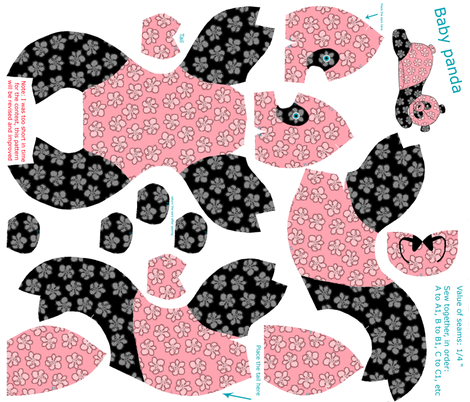 Baby panda plushie pattern fabric by lucybaribeau on Spoonflower - custom fabric