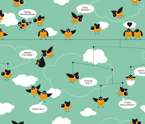 Birds Way of Life fabric by cassiopee on Spoonflower - custom fabric