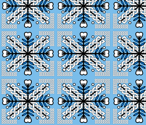 Celtic Hawaiian Blue Leaves fabric by nezumiworld on Spoonflower - custom fabric