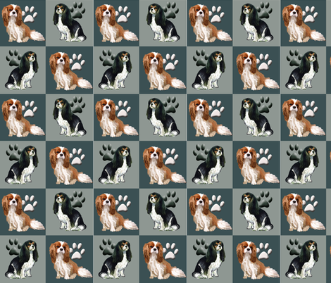 Cavalier Spaniels Fabric In blue fabric by dogdaze_ on Spoonflower - custom fabric