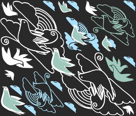 Clouds-Birds_Tseye fabric by tseye on Spoonflower - custom fabric