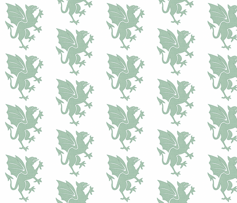 Sage Dragon fabric by hfpdesigns on Spoonflower - custom fabric