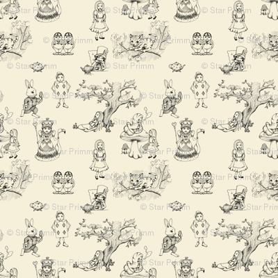 Alice in wonderland toile in Cream and Black