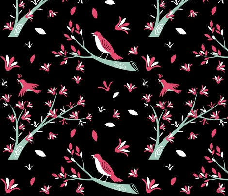 Birds and Blooms fabric by lowa84 on Spoonflower - custom fabric