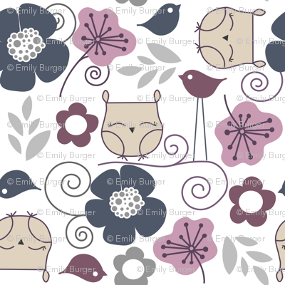 Purple owls and flowers