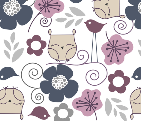 Purple owls and flowers fabric by emilyb123 on Spoonflower - custom fabric