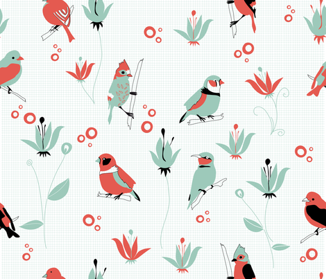 Birds (4 colours) fabric by catru on Spoonflower - custom fabric