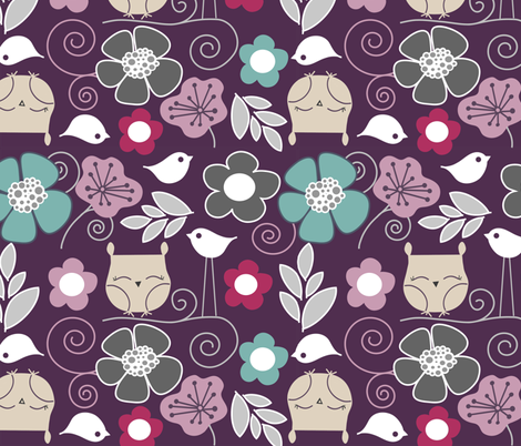 Purple owls  fabric by emilyb123 on Spoonflower - custom fabric