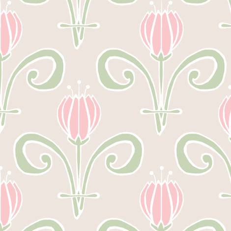 Pale Tulips Again fabric by pond_ripple on Spoonflower - custom fabric