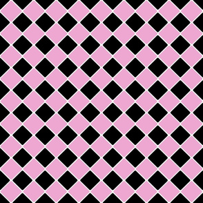 Vintage 1950's Pink and Black Diagonal Tiles