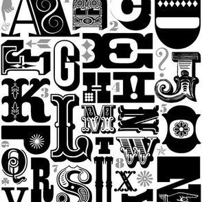 Woodtype Alphabet (Black & Gray) || letterpress typography wood type letters numbers vintage western