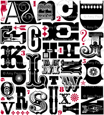 Woodtype Alphabet (Black & Red) || letterpress typography wood type letters numbers vintage western