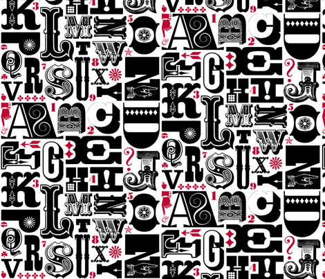Woodtype Alphabet (Black & Red) || letterpress typography wood type letters numbers vintage western fabric by pennycandy on Spoonflower - custom fabric