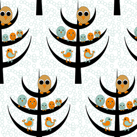Bird tree fabric by celebrindal on Spoonflower - custom fabric