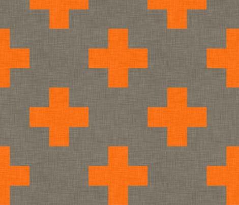 plus one linen orange fabric by holli_zollinger on Spoonflower - custom fabric