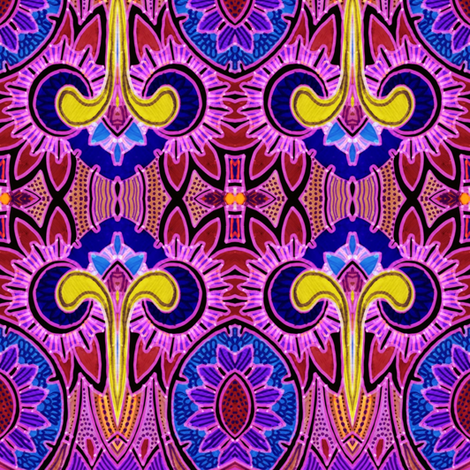 Deco Daffodilly (majestic magenta) fabric by edsel2084 on Spoonflower - custom fabric