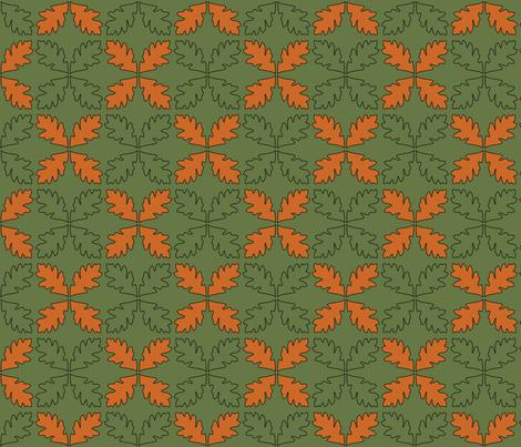 Sage & Pumpkin Oak Leaves fabric by pantsmonkey on Spoonflower - custom fabric
