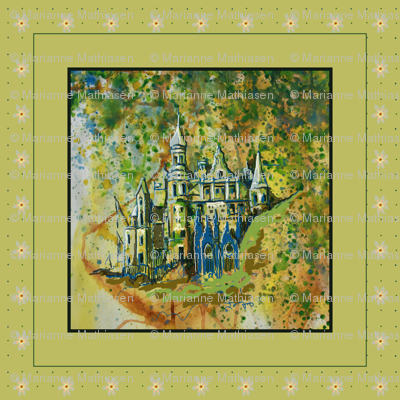 Fairy Tale Dream Castle Pillow, green, yellow, blue,