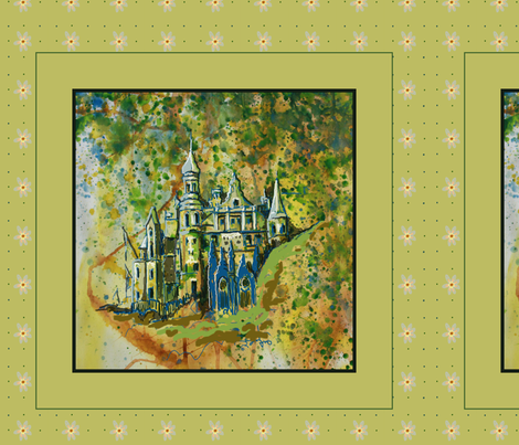 Fairy Tale Dream Castle Pillow, green, yellow, blue,  fabric by mariannemathiasen on Spoonflower - custom fabric