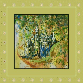 Fairy Tale Dream Castle Pillow, green, yellow, blue,
