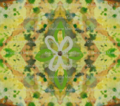 Floral Whimsical Floral Spring Fabric, green, yellow, brown