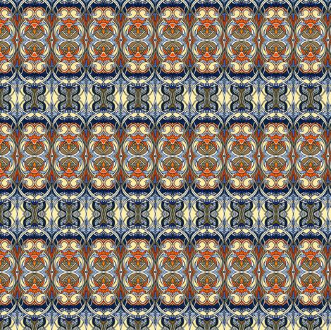 Nouveau Bijou (tan / orange/ blue) fabric by edsel2084 on Spoonflower - custom fabric