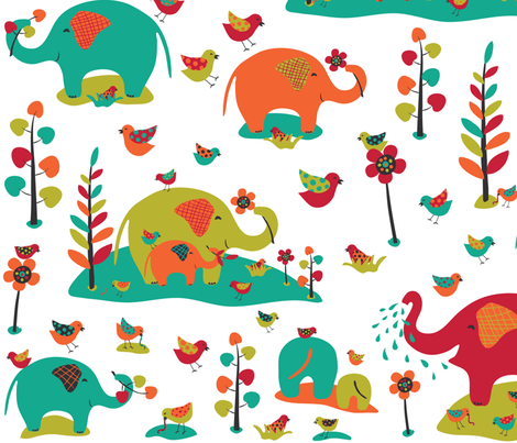 Happy Elephants (large ) fabric by gracedesign on Spoonflower - custom fabric