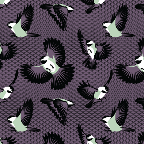 Chickadee Attack! fabric by kahoxworth on Spoonflower - custom fabric
