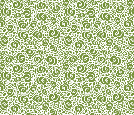 Cut Flowers, Green on White (small) fabric by gracedesign on Spoonflower - custom fabric