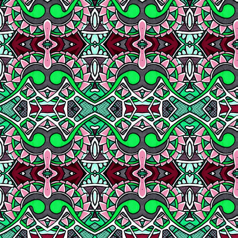Gearhead (pink/green) fabric by edsel2084 on Spoonflower - custom fabric