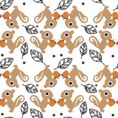 Leaf The Squirrels Alone - They've Gone Nuts! - © PinkSodaPop 4ComputerHeaven.com fabric by pinksodapop on Spoonflower - custom fabric