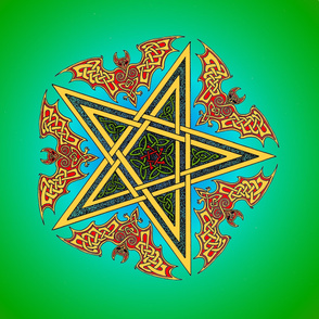 Celtic Bats Star Mandala on green