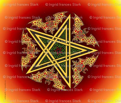 Celtic Bats Star Mandala on flame reds Small