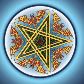 Celtic Bats Star Mandala on blue Small