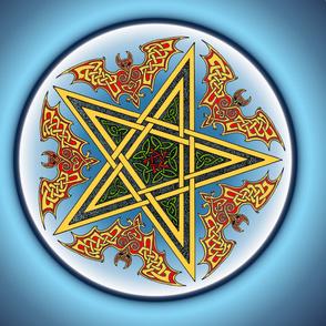 Celtic Bats Star Mandala on blue