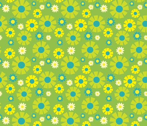 wallpaper flower  (green) fabric by mossbadger on Spoonflower - custom fabric