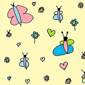 Butterflies, Flowers and Hearts