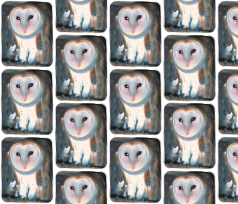 Barn Owl, L fabric by animotaxis on Spoonflower - custom fabric