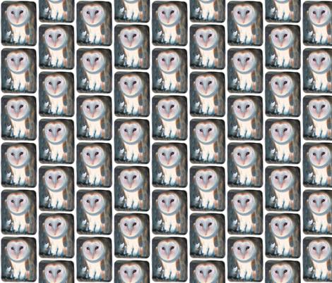 Barn Owl, S fabric by animotaxis on Spoonflower - custom fabric