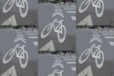 Bike Lane, Paris, France   fabric by susaninparis on Spoonflower - custom fabric