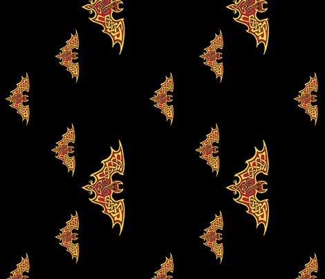 Celtic Bats on Black fabric by ingridthecrafty on Spoonflower - custom fabric